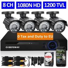 DEFEWAY 8CH 1080N HDMI DVR 1200TVL 720P HD Outdoor Security Camera System 1TB Hard Drive 8 Channel CCTV DVR Kit AHD Camera Set(China (Mainland))