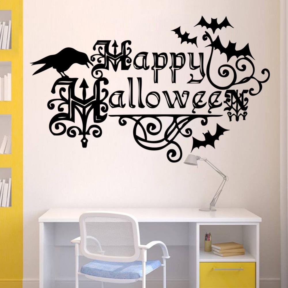 Happy Halloween Tips On Home Decoration 1: Black English Words Happy Halloween Decoration Bat Wall