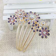 2015 New Women Beautiful Crystal Rhinestone Decorate Petal Tuck Hair Comb Flower Pin Hair Clip, Hair Accessories Fashion Jewelry(China (Mainland))