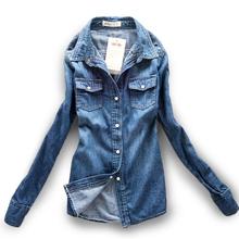 2015 womens jeans shirts blouses blusas renda femininas turn-down collar long-sleeve denim camisas womens jeans blouses C56(China (Mainland))
