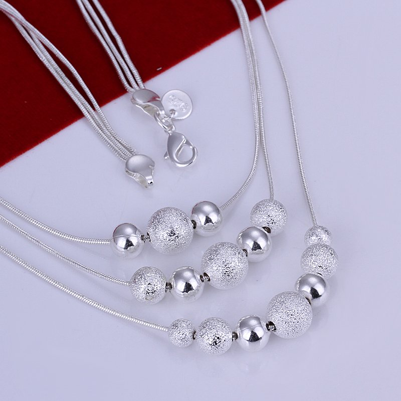 HOT sale N020 Three Line Bead Necklace Factory Price Free shipping silver necklace fashion jewelry jewellry