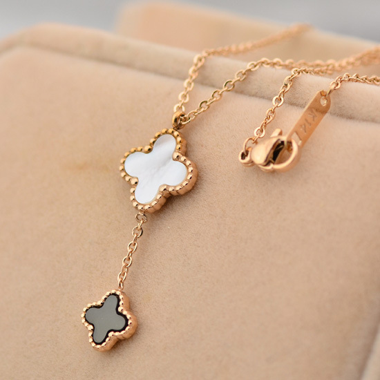 New high quality double shell clover necklace 18k rose gold choker necklaces Wholesale Jewelry Supplier Stainless Steel N4573(China (Mainland))