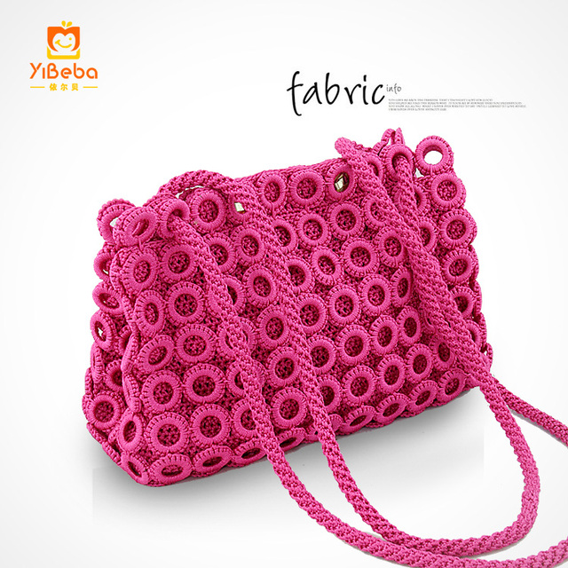 How To Crochet A Bag : ... crochet bag woven bag female fashion handbag one shoulder knitted bags
