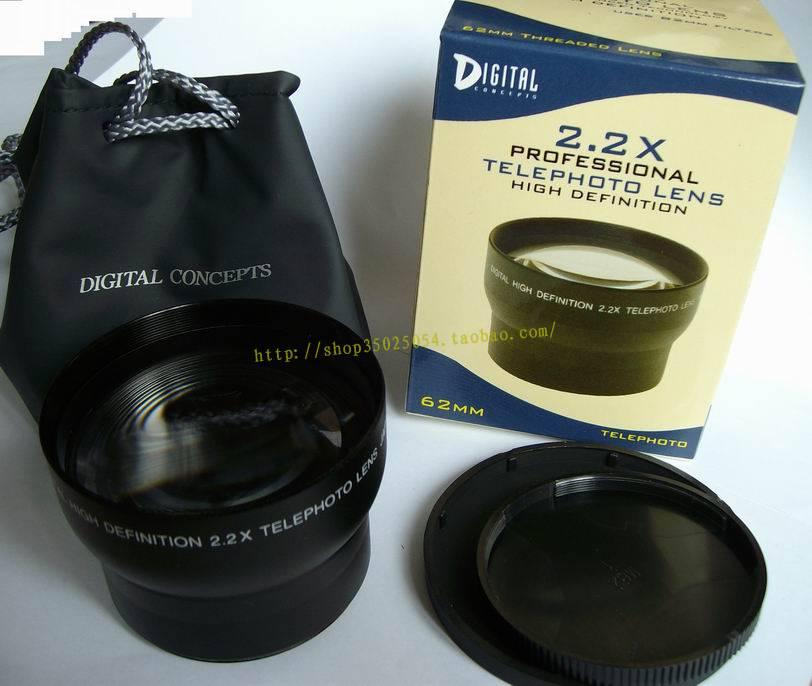 2.2x 62mm TELE Telephoto LENS Magnification for 62 mm canon nikon DSLR/SLR Digital Camera(China (Mainland))