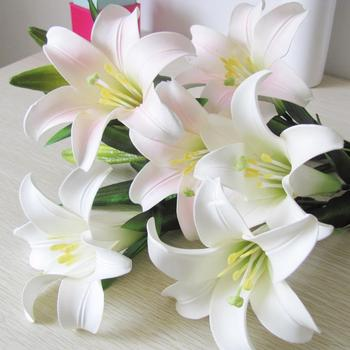 Free shipping High artificial lily perfume set floor rustic  silk flower decoration Lily. 3 Flowers 2 buds in one PC.9PCS lot