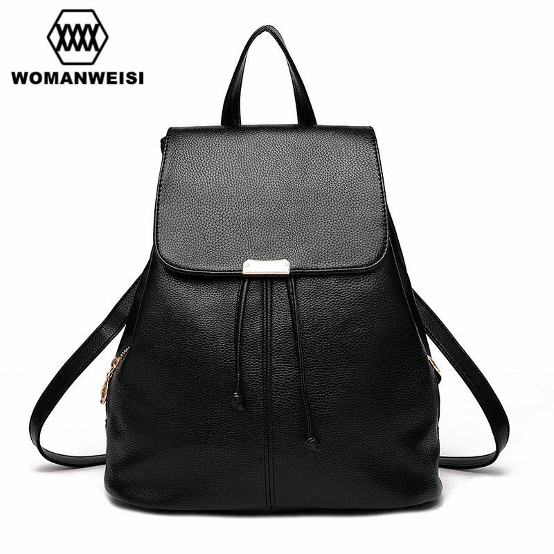 Girl School PU Leather Shoulder Bag Female Backpacks For Teenage Girls ...