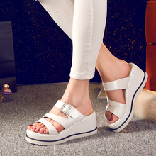 Big size 33-43 high quality hot sale 2015 new fashion style women casual white color buckle strap platform slides sandals shoes(China (Mainland))