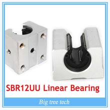 4PCS SBR12UU SBR12 Linear Bearing 12mm Open Linear Bearing Slide block 12mm CNC parts linear slide