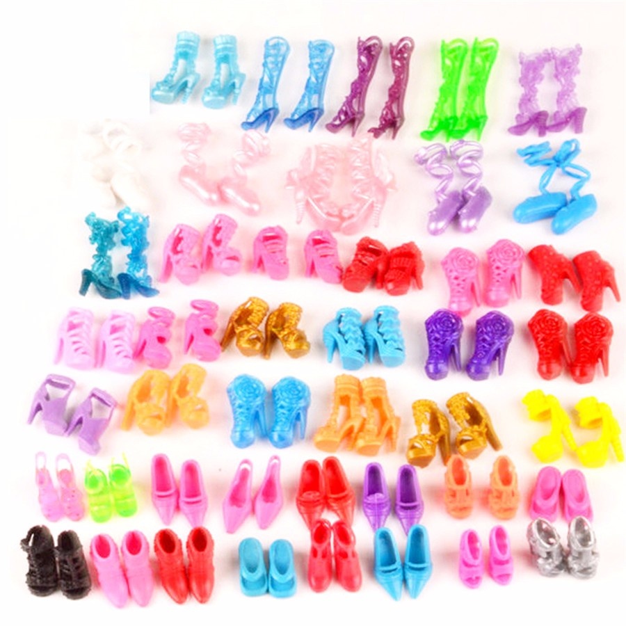 BBGUN001- 10Gadgets=5Pcs Costume+5Pairs Footwear, Handmade Garments for Barbie Stunning BJD Princess Doll Night Costume