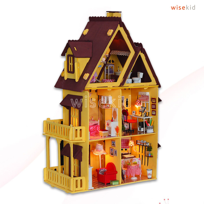 W66 Big Wood Doll House, 3 Floors Single House w/ Furnitures, DIY Kit Toy Miniature for Kids(China (Mainland))