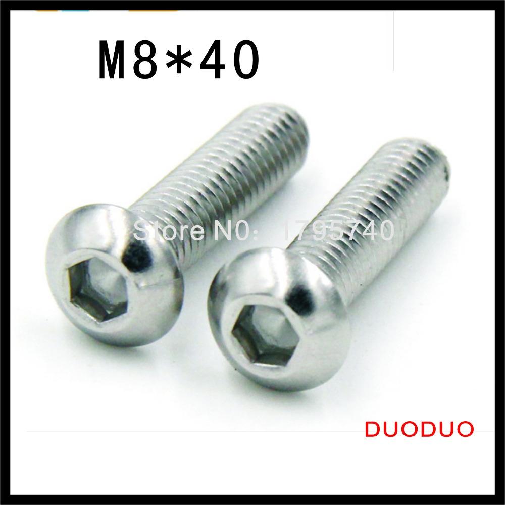 50pcs ISO7380 M8 x 40 A2 Stainless Steel Screw Hexagon Hex Socket Button Head Screws<br><br>Aliexpress