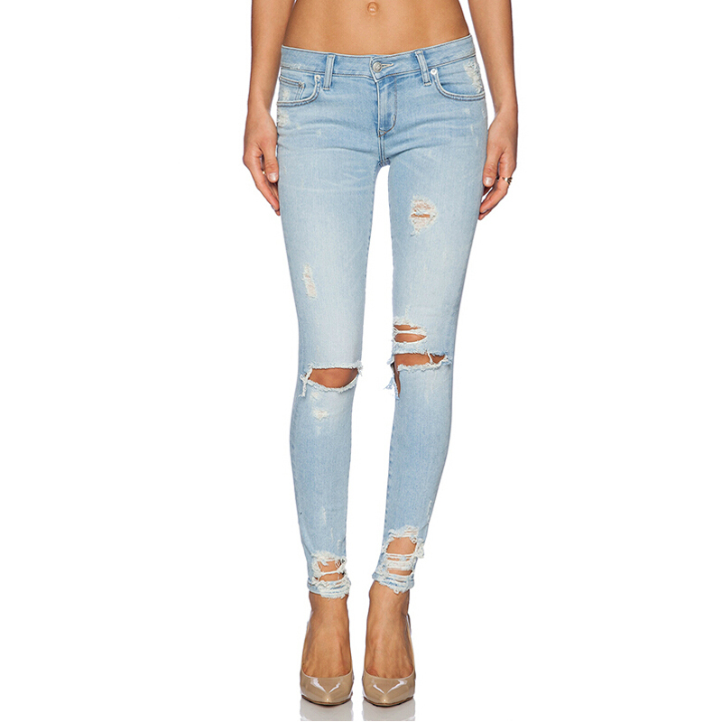 Summer Style Ripped Jeans Skinny Jeans Women Slim Fashion Denim Long Pencil Pants Color Blue