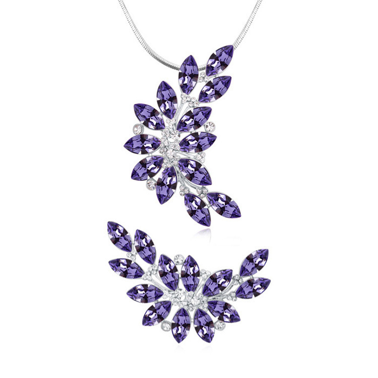 High quality Jewelry Sets leaf pendant Necklace Brooch Made With Swarovski Elements Crystals from Swarovski Elements
