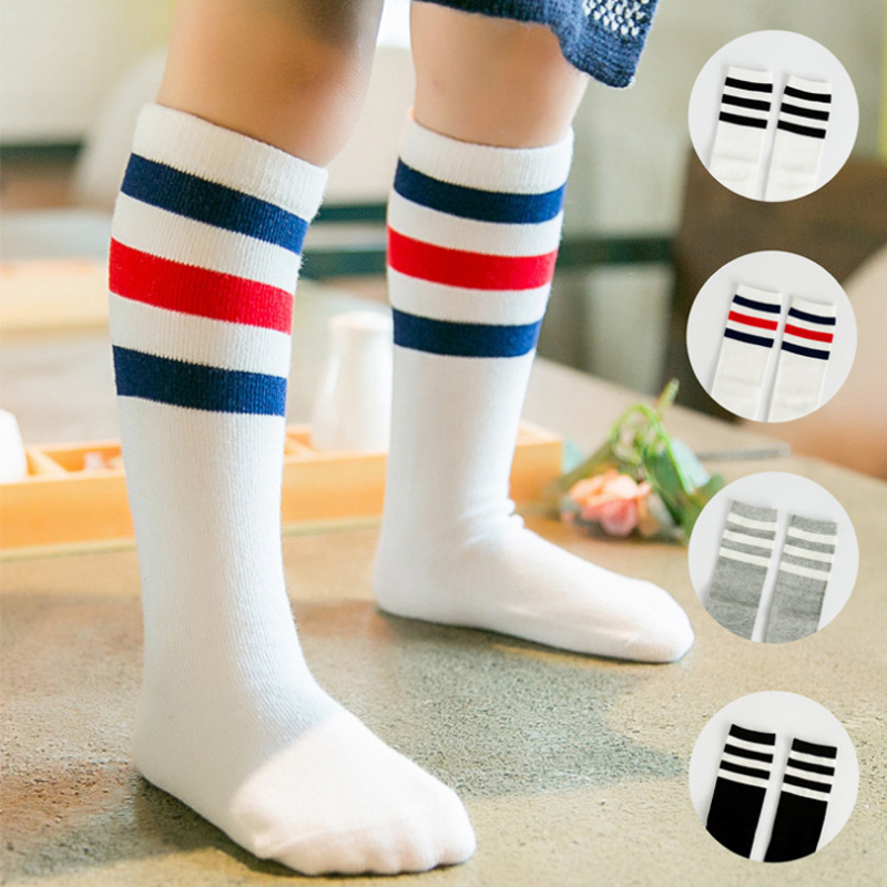 Children knee high cotton toddler new three bar girl boy baby socks leg warmers fox socks knee socks football sock(China (Mainland))