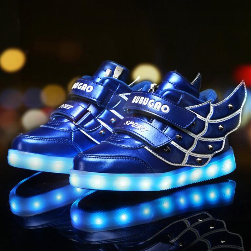 2016 SPRING Kids Sneakers child Angel wings USB Charging Luminous Lighted Colorful LED lights Shoes Casual Flat Girls Boy - Trade tribes with Chinese characteristics store