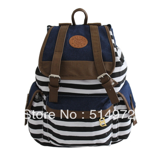 Best Selling!!2013 new british style women striped backpack ladies canvas school bag vintage backpack Free Shipping