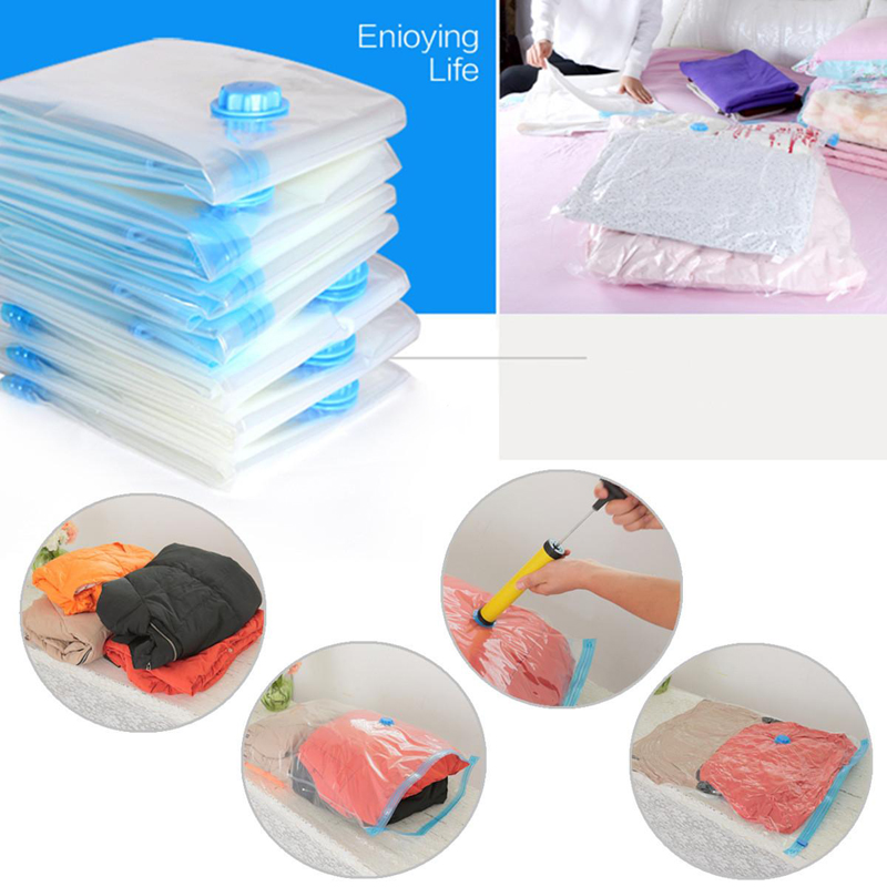 High Quality Space Saver Saving Storage Bags Vacuum Seal Compressed Organizer Bag For Bed Clothes Storages(China (Mainland))