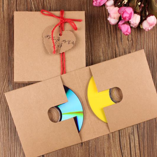 Wholesale 10 PCs Kraft Paper CD Cases Sleeves DVD storage boxes/2 discs caver holder envelope bag free shipping(China (Mainland))