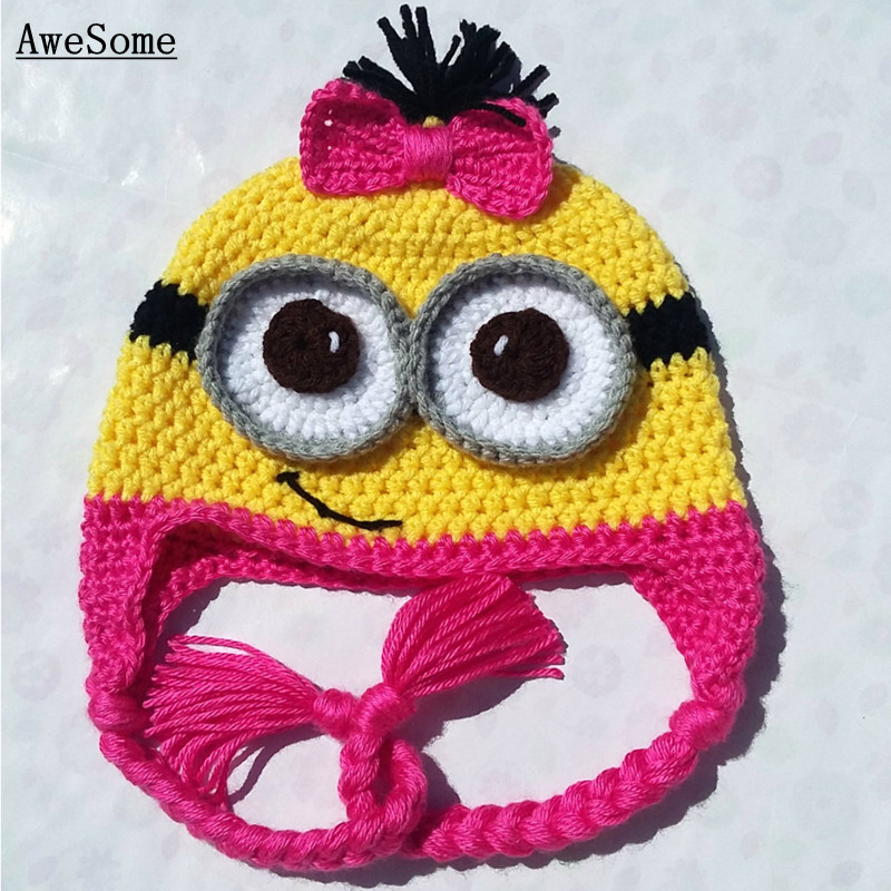100%Handmade Free post Yellow Minion with Goggles Newborn Hat Knit Crochet Baby Hat Toddler Halloween costume Photography Prop(China (Mainland))