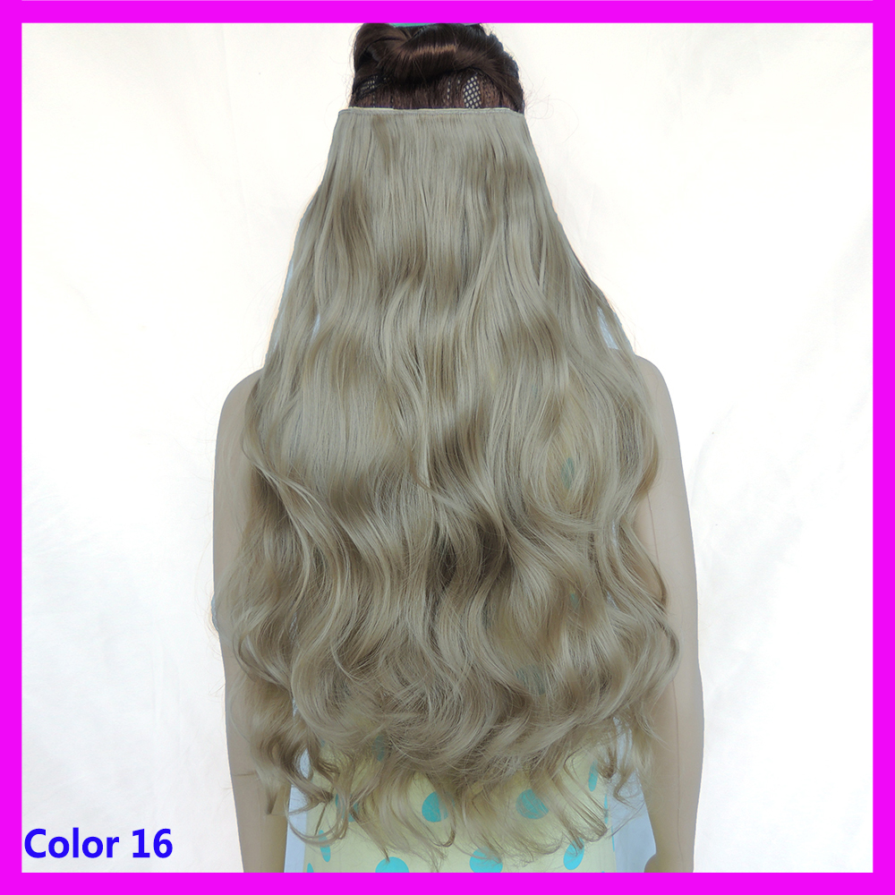 Гаджет  24inch ash blonde wavy hair extensions hair pieces extensiones de cabello hairpiece 5 clip in hair extentions color 16 None Волосы и аксессуары