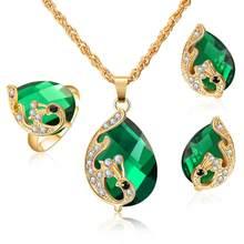 Elegante Pfau Zirkon Braut Gold farbe Schmuck Sets Frauen Anhänger & Halskette Ring Ohrringe Mit Natürlichen Steine Schmuck(China)