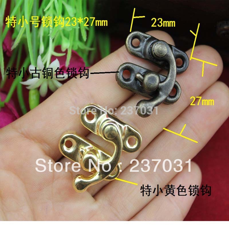 23 * 27 mm, small hook/antique clasp/make-up box buckles/iron lock/lock horns yellow brass<br><br>Aliexpress