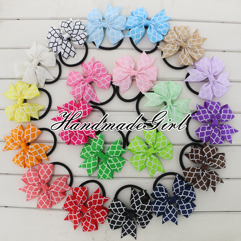 3.2 Kids Printed Ribbon Hair Bow Rubber Elastic Hair Band Quatrefoil Pinwheel Bows Knot Hair Rope Ponytail Holder AccessoriesОдежда и ак�е��уары<br><br><br>Aliexpress