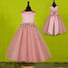 2015 nuovo stile a-line scoop floor-lunghezza dell'arco ragazze di fiore veste il trasporto libero little girls spettacolo del vestito su ordine(China (Mainland))