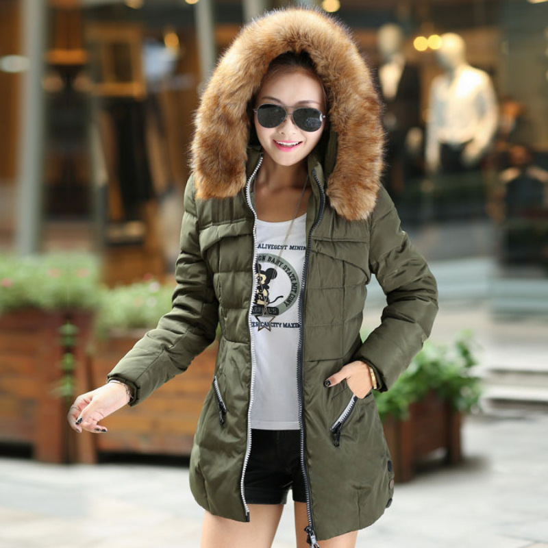 Down coat wadded jacket female medium-long plus size outerwear fur collar thick cotton-padded jacket(China (Mainland))