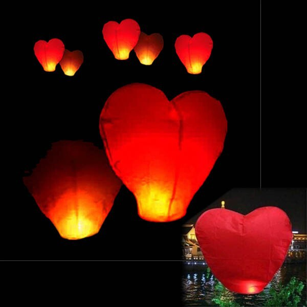 Free Shipping 200pcs/lot heart Sky Lanterns, Wishing Lamp SKY CHINESE LANTERNS BIRTHDAY WEDDING PARTY(China (Mainland))
