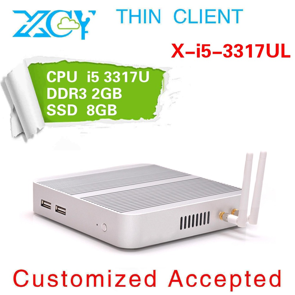 Factory x-i5-3317Ul mini pc computer 1.7GHZ 4g ram 16g ssd Industrial aluminum with fanless wifi thin client silvery office pc(China (Mainland))