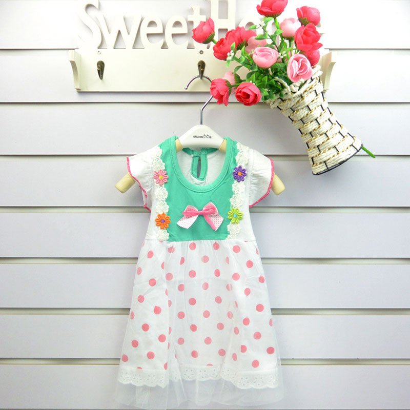 Summer Dresses 2015 Girl Dresses New Free Shipping for 2-7age Dots Girls Princess Party Kids Formal Dresses Children Cute Cloth(China (Mainland))