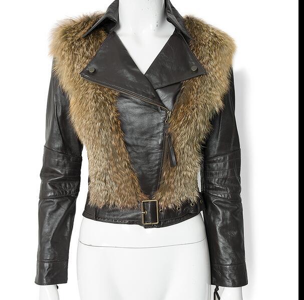 arlene sain custom women  The fox wool genuine  sheepskin leather jacket free shipping