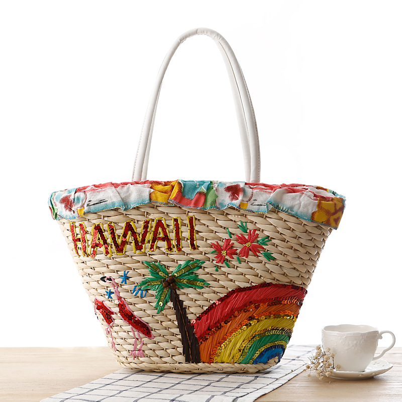 Handmade Natural Corn Husk Weave Hawaii Totes Quality Vacation Woman Bag Holiday Style Lady Lovely Flower Handbag Designer Bag(China (Mainland))