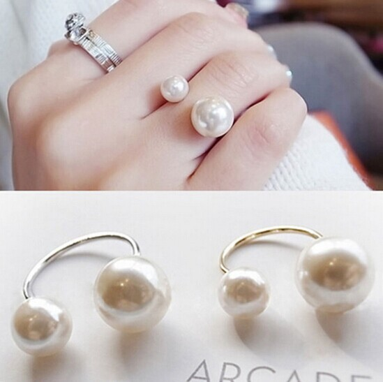 Гаджет  New fashion accessories jewelry double pearl big small finger ring for women girl nice gift R1495 None Ювелирные изделия и часы