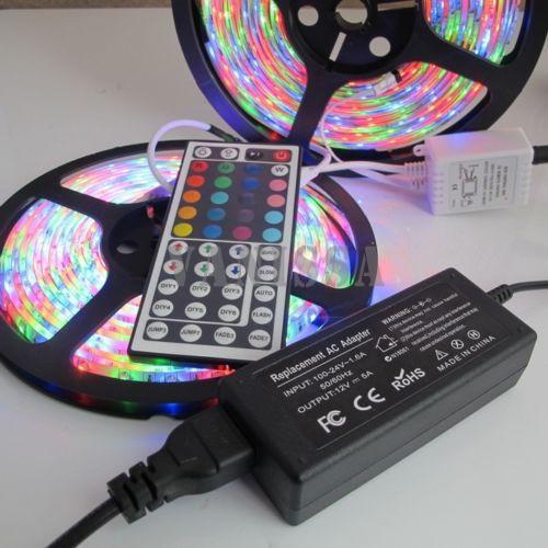 12v 10m 2*5M 600 Led RGB waterproof Strip Light SMD 3528 3014 60LED/M Flexible Ribbon+44key IR Remote Controller+5A power supply(China (Mainland))