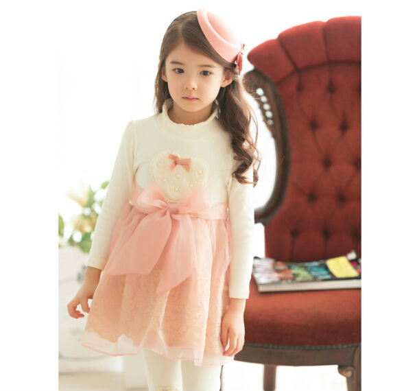 Top quality Winter Fashion Turtleneck Pearls Peach Heart Thicken Children Dress with Sashes Bow Fleece Lace Girls Dress(China (Mainland))
