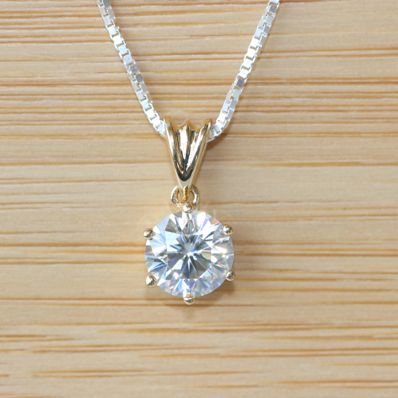Solid 18k Yellow Gold  1 CARAT CT Close To G-H  Moissanite Solitare Pendant Necklace Lab Grown Diamond Fine Jewelry<br><br>Aliexpress