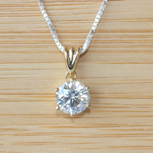 Solid 18K 750 Yellow Gold  1 CARAT CT Close To G-H  Moissanite Solitare Pendant Necklace Lab Grown Diamond Fine Jewelry(China (Mainland))