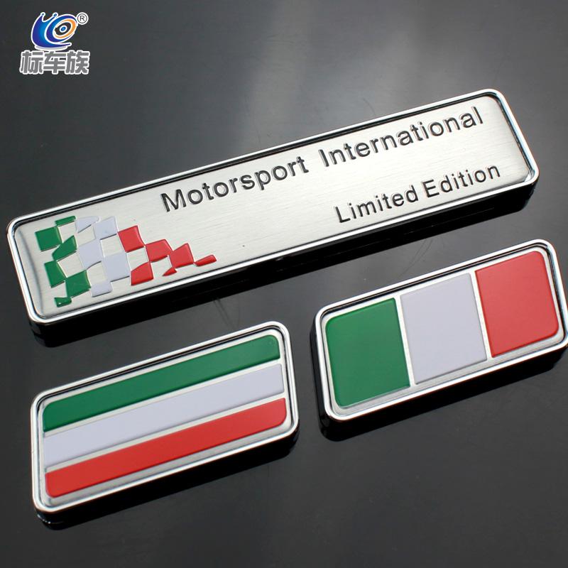 Free shipping Italy Motorsport International Limited Edition car emblem Italian flag fender tank stick car stickers decoration(China (Mainland))