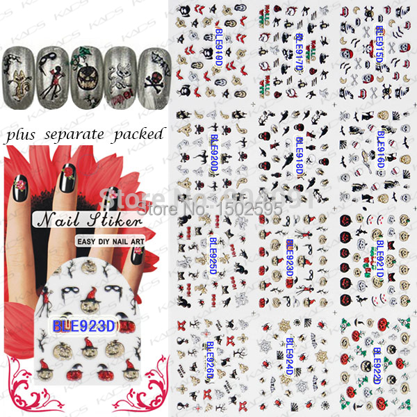 NEW 50Sheet/LOT 3D glitter Halloween nail sticker more than 12 different designs NAIL ART for you  individually packaging<br><br>Aliexpress