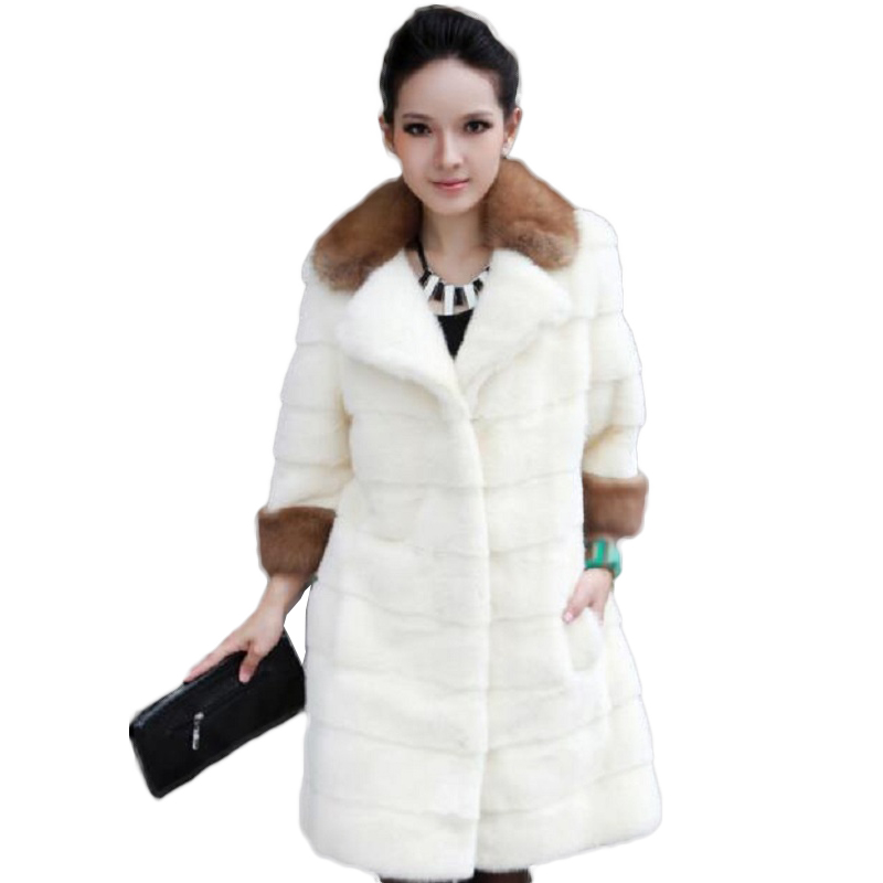 white fur coat 2016 winter new imitation grass Rabbit Girls long paragraph raccoon collar - International brand bags store