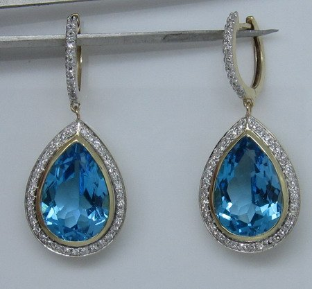 SOLID 14K GOLD NATURAL TOPAZ &amp; DIAMOND EARRINGS 15.70ct<br><br>Aliexpress