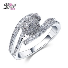 Buy Dreamcarnival1989 Wedding Party Band Rings Women Rhodium Gold-color Prong Setting Clear White Synthetic Cubic Zirconia for $6.99 in AliExpress store