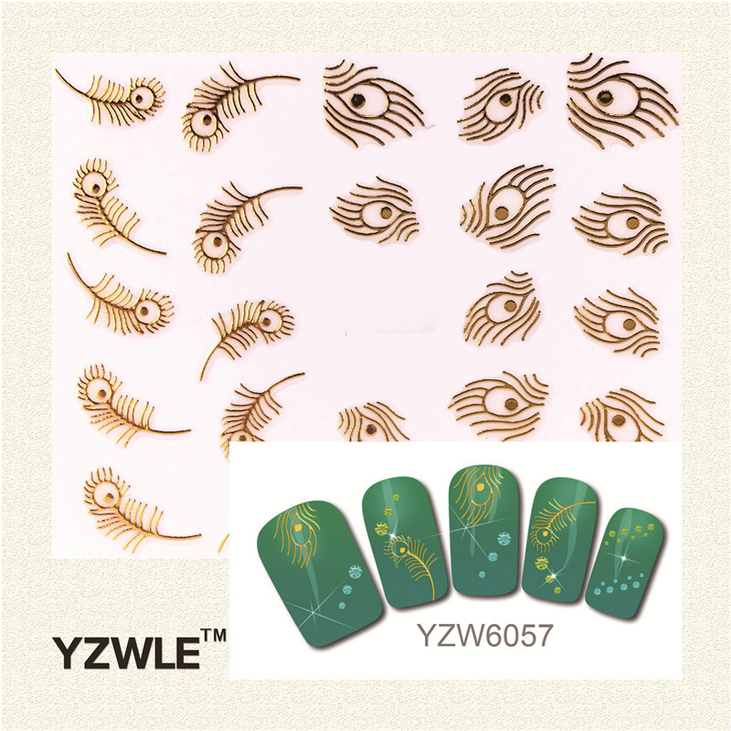 YZWLE 1 Sheet 3D Fashion Gold Peacock Feather DIY Hot Gold 3D Decal Nail Art Stickers Decorations Tool For Manicure Salon(China (Mainland))