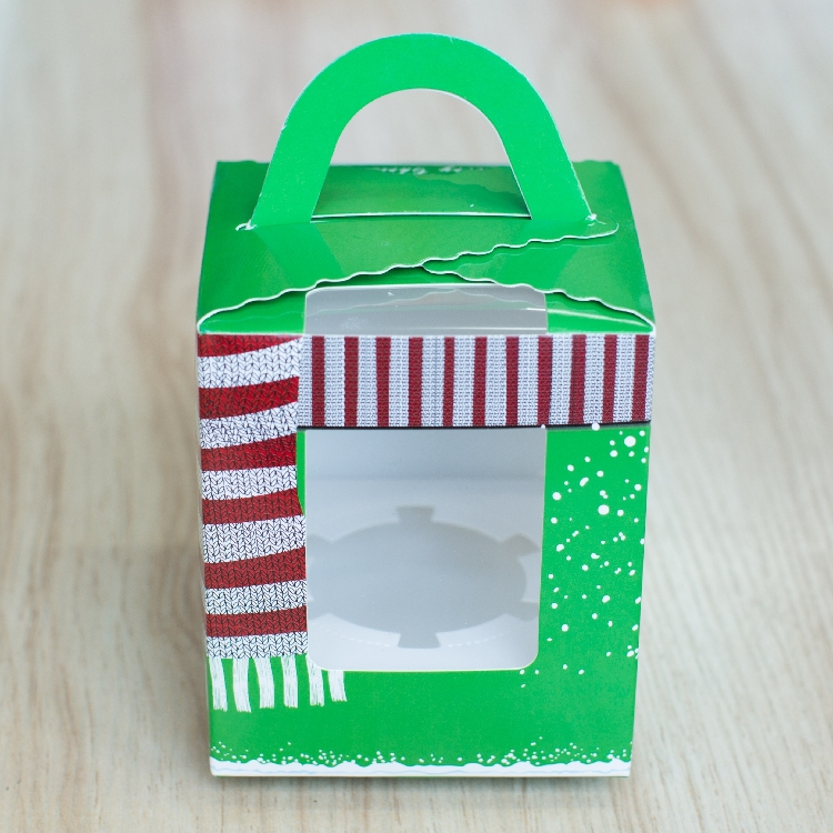 Free Shipping Christmas series green cake boxes with window, Wholesale baking paper gift cupcake box cardboard packaging bag(China (Mainland))