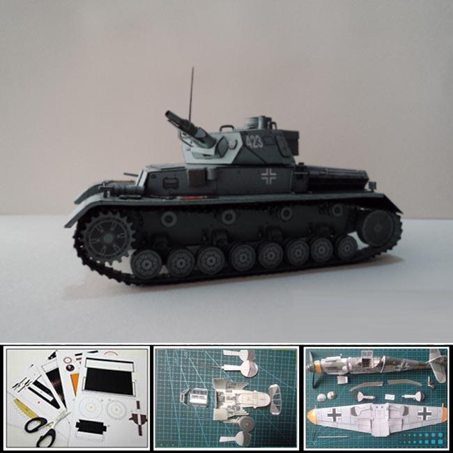 Free shipment Paper Model Tank World War II Germany Panzer Kampfwagen 4 Ausfd Tank magazine ver. Military weapon 3d puzzles toys(China (Mainland))