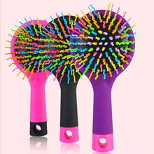New Baby Tangle Brush 2016 Rainbow Comb Volume Brush Magic Hairbrush for Hair Tangle Hair Brush Women Comb Candy With Mirror 1PC(China (Mainland))