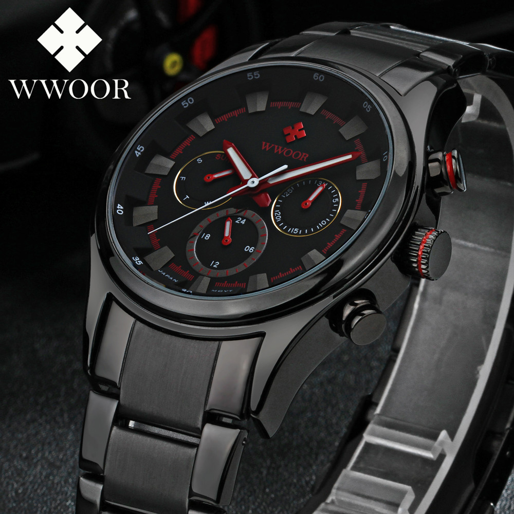 Mens Watches Top Brand Luxury Date Week 24 Hours Diving Sport Watch Men Casual Quartz Watch Male Full Steel Military Wrist Watch(China (Mainland))