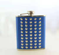 FREE SHIPPING 1PCS 70Z Blue Leather Rivet Stainless Steel Flagon Hip Flask Wine Pot #23672